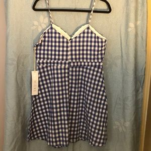 Lumiere Dresses - NWT. Lumière blue and white gingham skater dress.